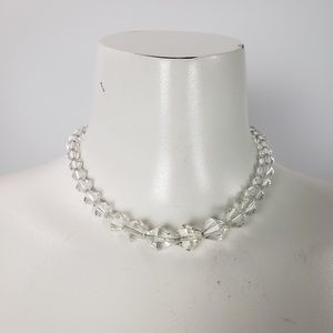 Jewelry - Glass Beads Vintage Necklace With Button Clasp